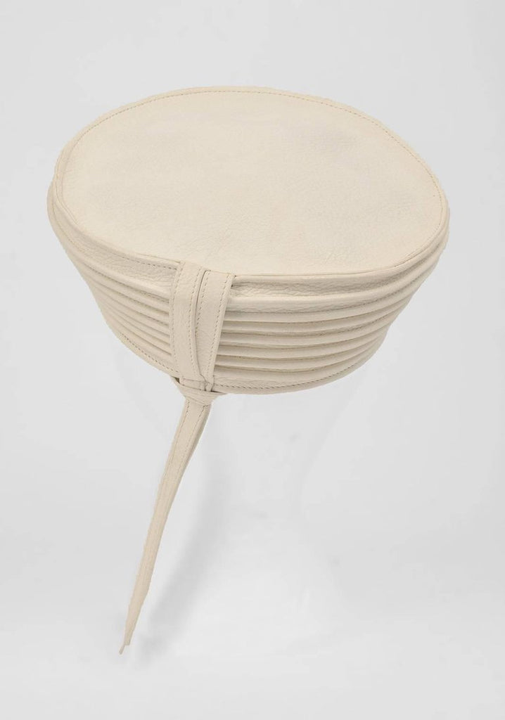 1960s Ted Lapidus Bone White Leather Hat