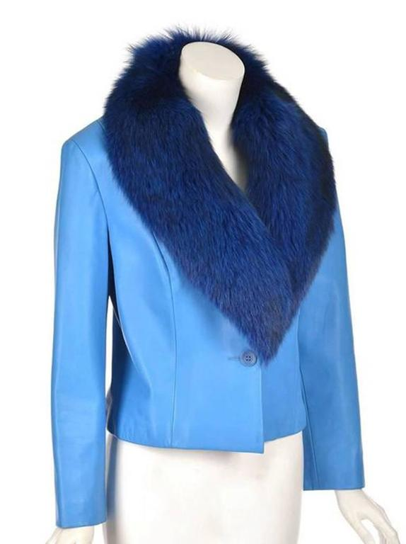1990s Michael Hoban Blue Leather and Fox Fur Jacket
