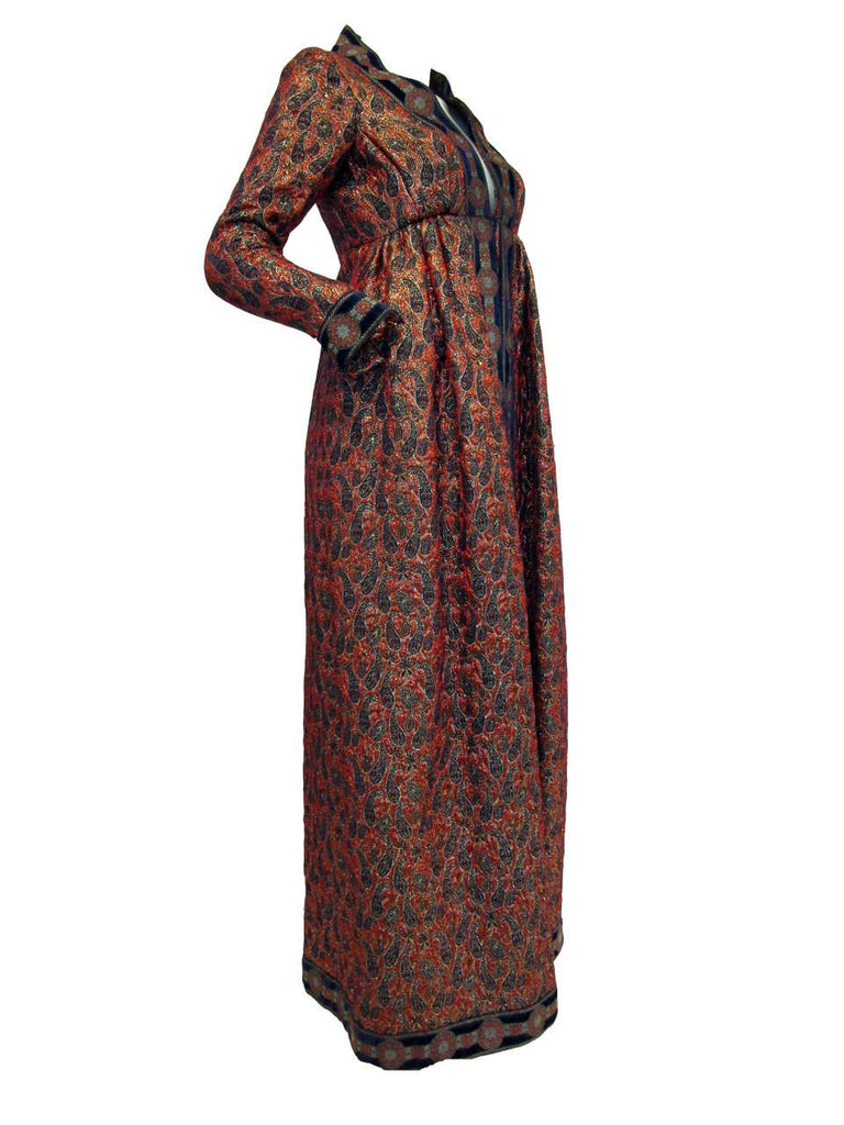 1960s Geoffery Beene Red Purple and Gold Brocade Evening Dress