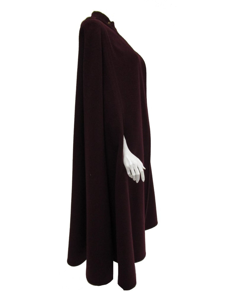 Late 1970s Galanos Eggplant Purple Wool Cape / Cloak with Gorget & Epaulettes