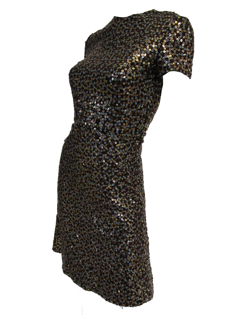1960s Bill Blass Grey and Gold Sequin Dress with Sequin Lined Jacket XXS
