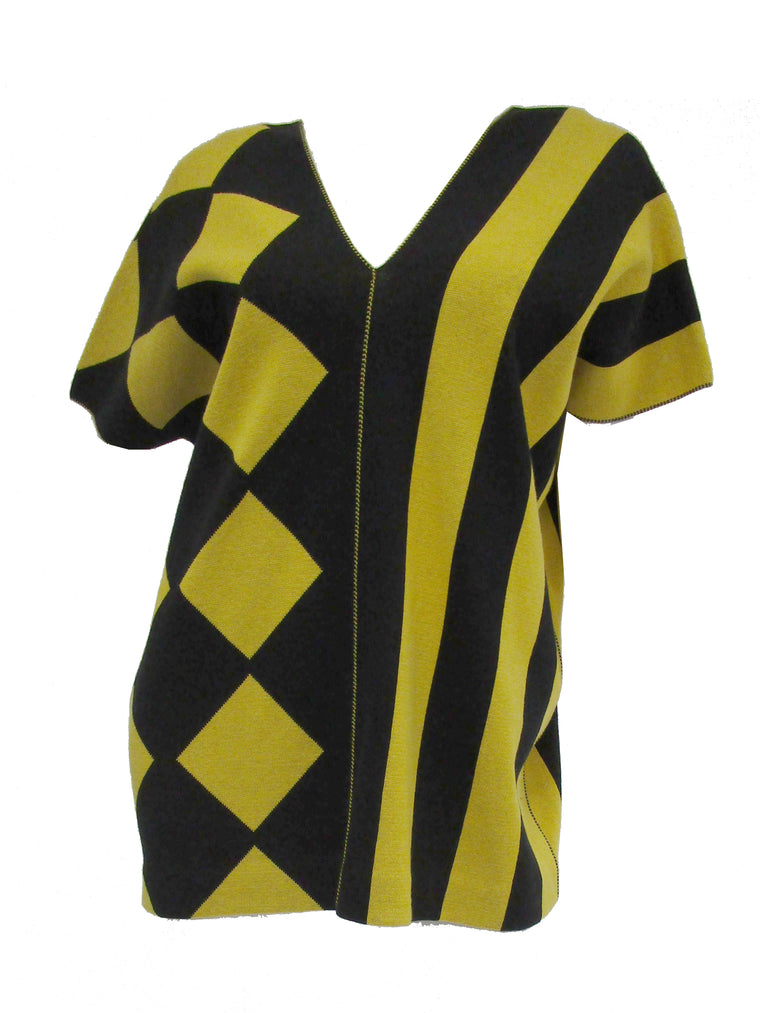 be84d5e564b 1980s Issey Miyake Yellow and Black Diamond and Stripe Cotton Knit Top