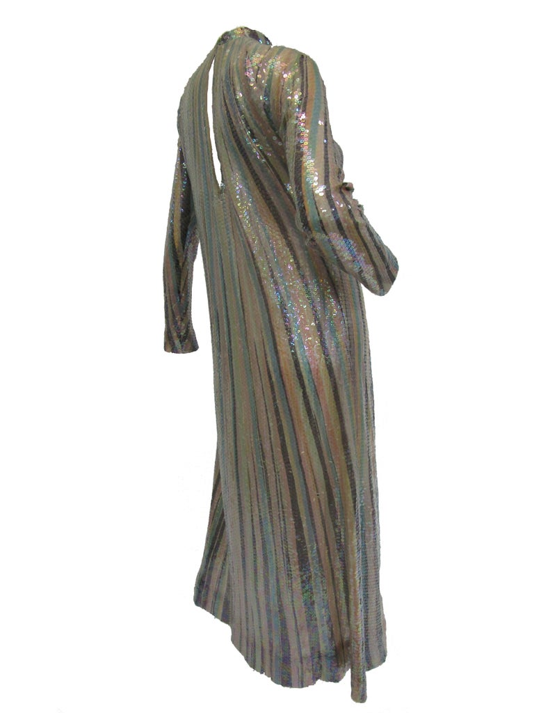 Iconic 1970s Halston Pastel Striped Silk Maxi Dress W/ Sequins