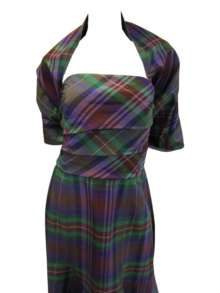 Catherine Regehr Holiday Plaid Strapless Evening Dress