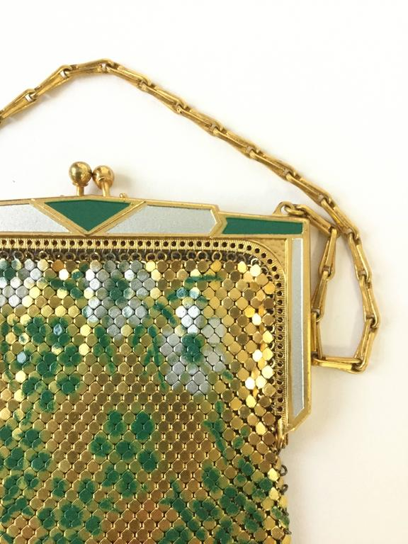 Clothing, Shoes & Accessories Art Deco Great Art Deco Mesh Purse With Geometrics And Enamel Detail Signed Whiting Davis