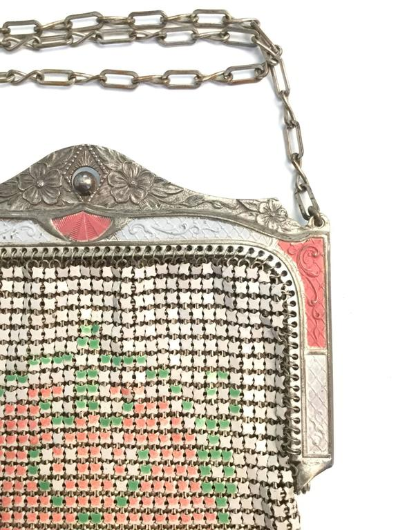 1920s Whiting and Davis Floral Enamel Mesh Purse