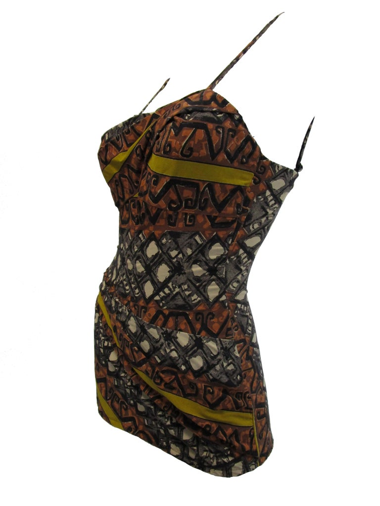1950's Rose Marie Reid Polynesian Print Draped Bathing Suit