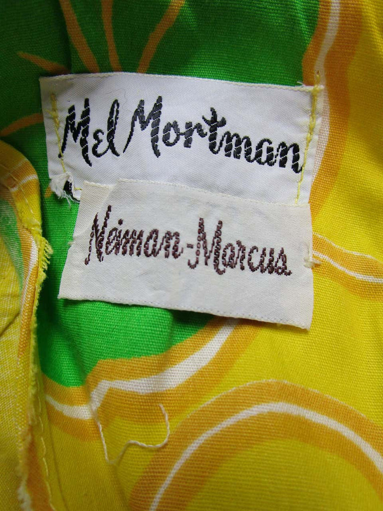 "1960's Mel Mortman for Neiman Marcus Multi-tone ""Pop"" Floral Mini Dress"