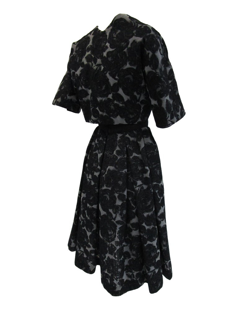 Rare 1950s Madame Gres licensed Black & Grey Embroidered Dress w/ Bolero Jacket
