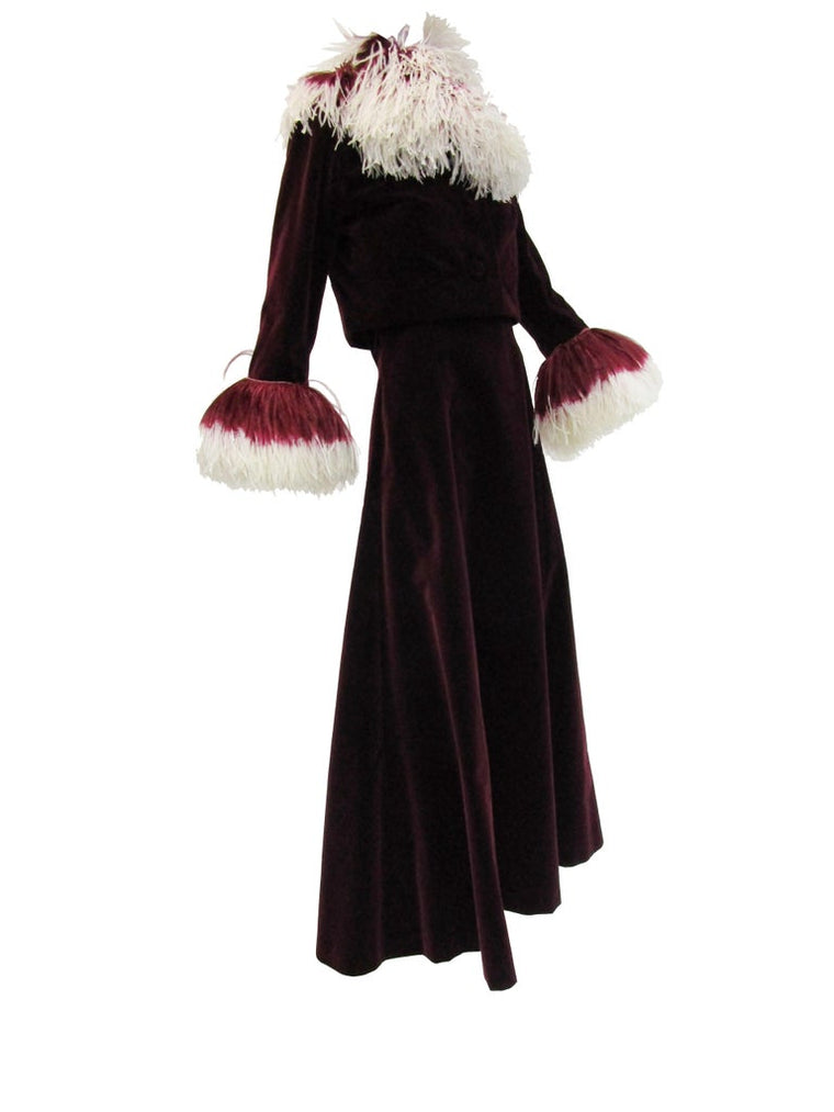 Rare 1960s Jean Louis Couture Wine Velvet Evening Ensemble w/ Ombre Feathers