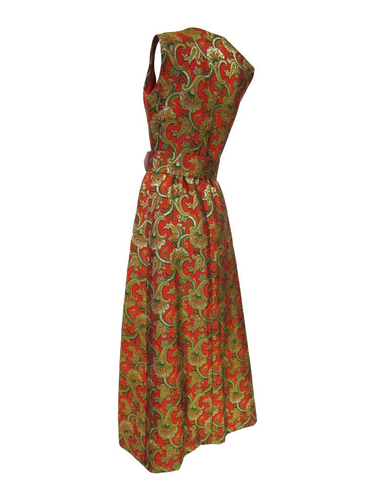 1970s Jean Patou by Jean Paul Gaultier Silk Brocade Evening Maxi Dress