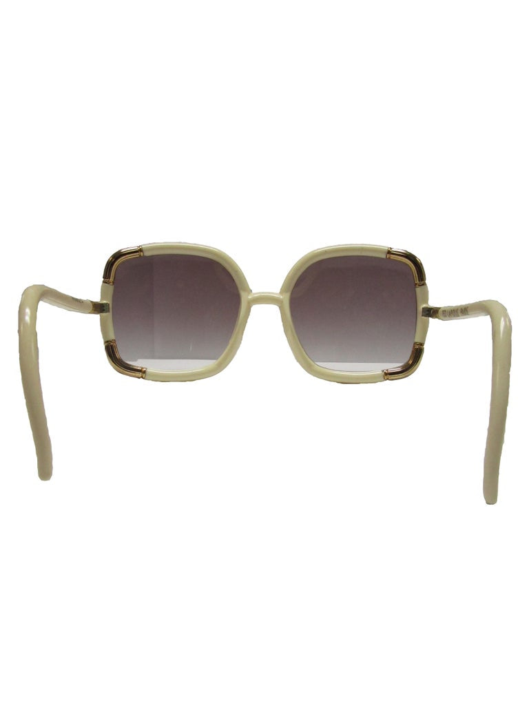 1970s Ted Lapidus Ivory and Gold Sunshades