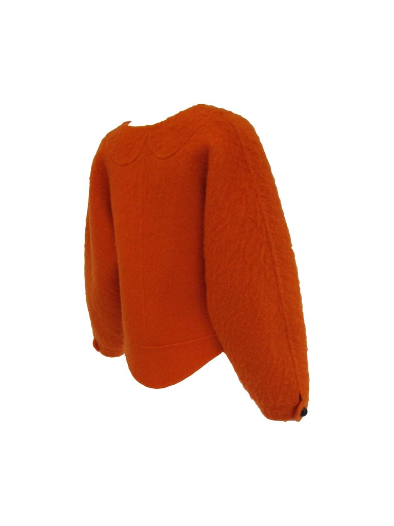 1990s Geoffery Beene Bright Orange Mohair Jacket - Cropped