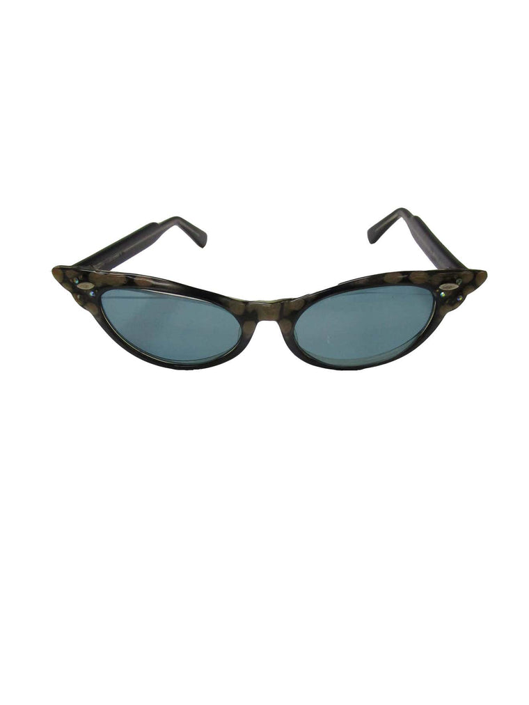 1950s Spotted and Jeweled Cat Eye Sunglasses