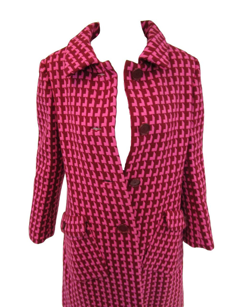 1960s Geoffrey Beene Pink and Plum Drop Shadow Pattern Coat