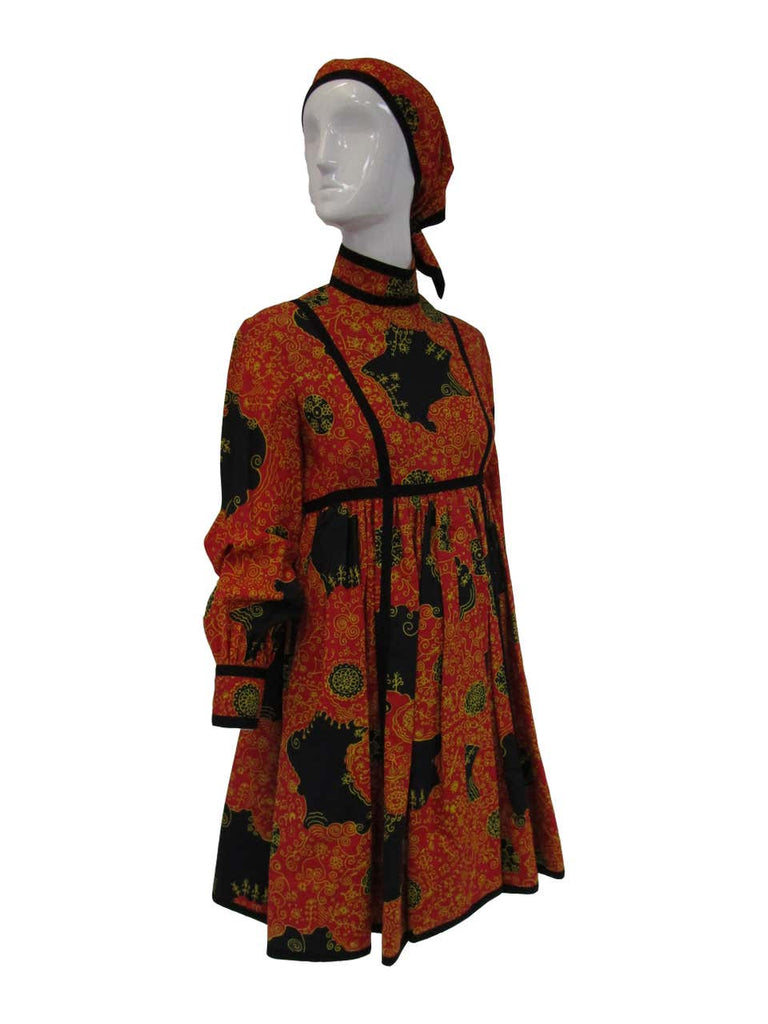 1960s Geoffrey Beene Decorative Printed Maxi Dress w Head Scarf