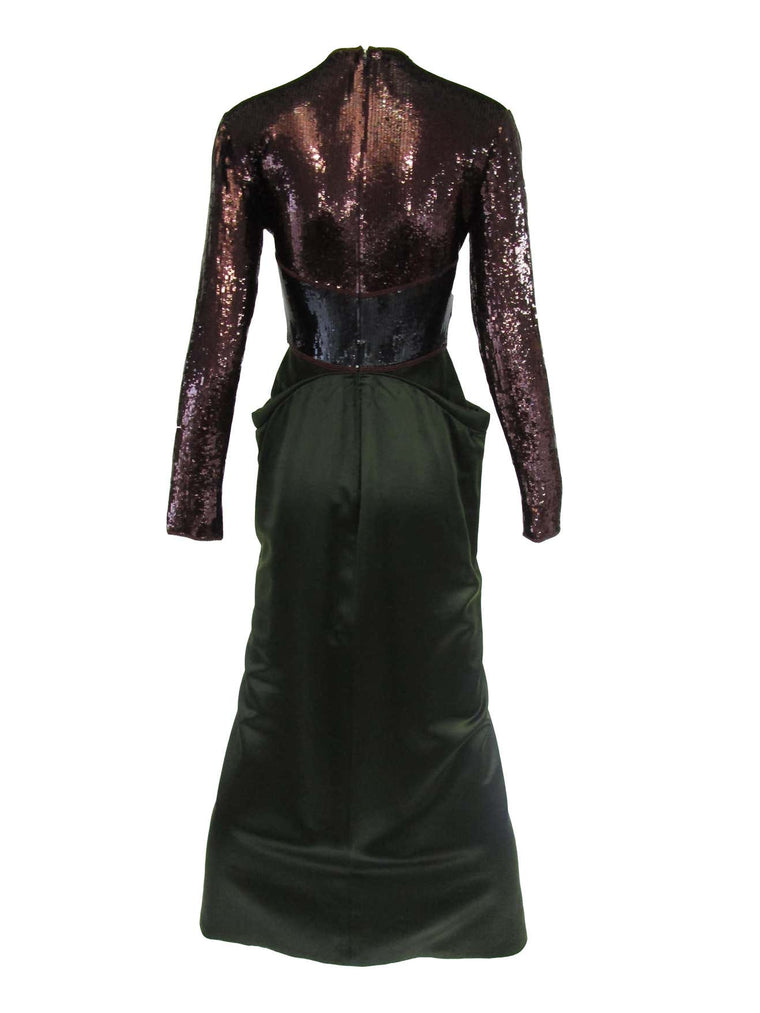 1990s Geoffrey Beene Burgundy and Green Satin Sequined Cocktail Dress