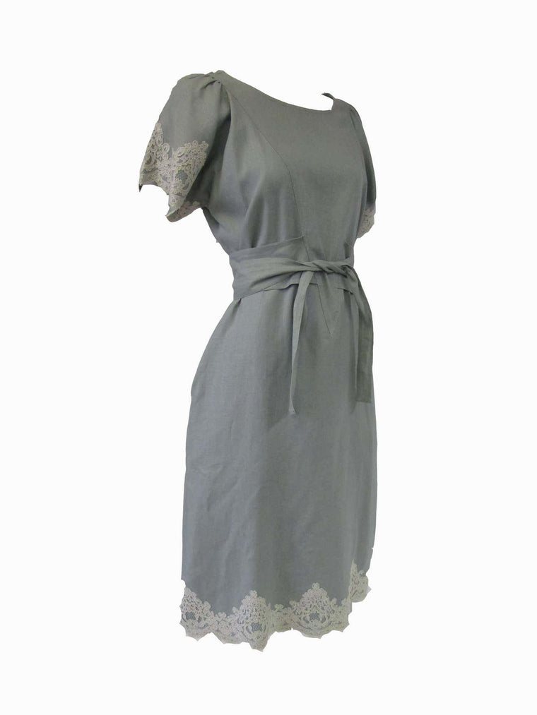 1980s Geoffrey Beene Slate Blue Linen & Lace Dress