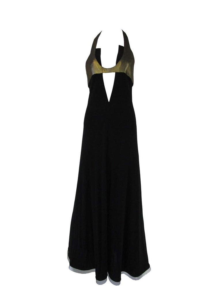 1980s Geoffrey Beene Silk Knit Gold and Black Halter Evening Dress