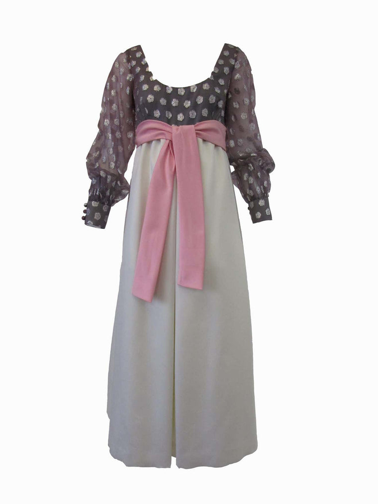 1960s Geoffrey Beene Purple, Pink and Cream Silk Gown with Silver Polka Dots