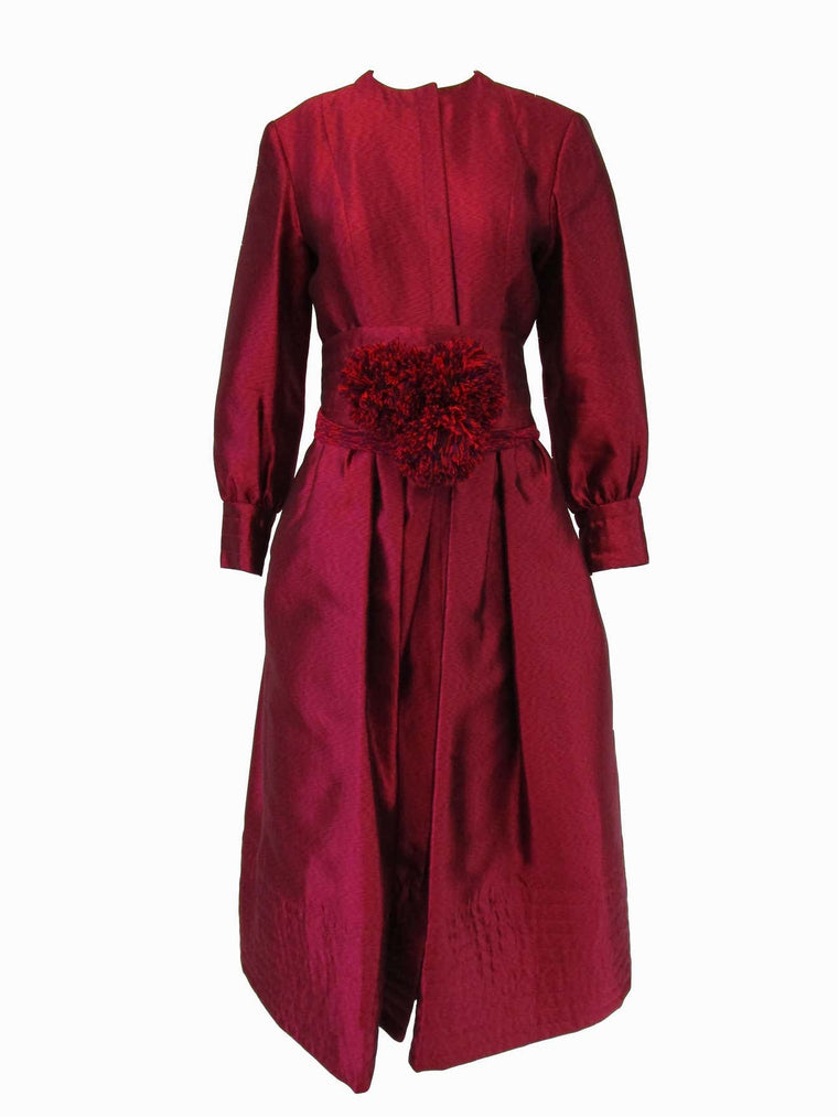 1970s Geoffrey Beene Raspberry Iridescent Silk Evening Dress W/ Pom-pom Belt