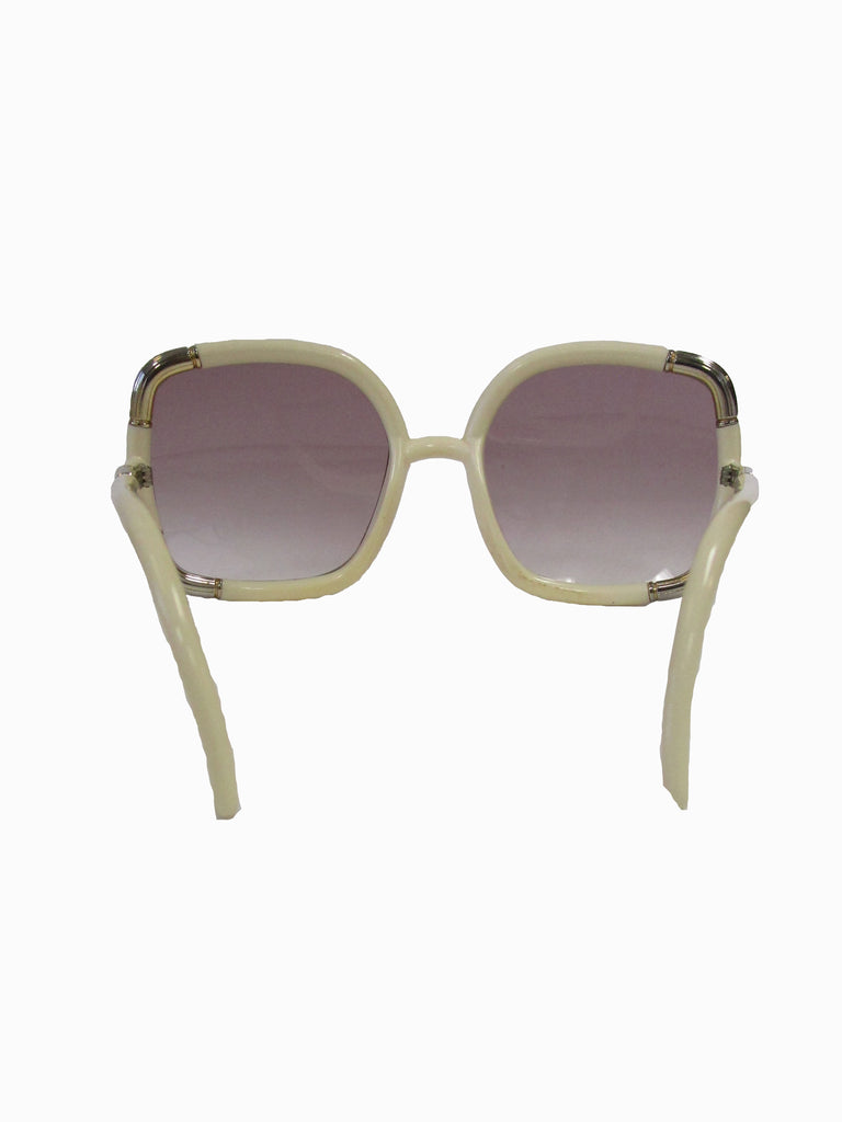1970s Ted Lapidus Paris Ivory and Gold Hardware Over-sized Sunglasses
