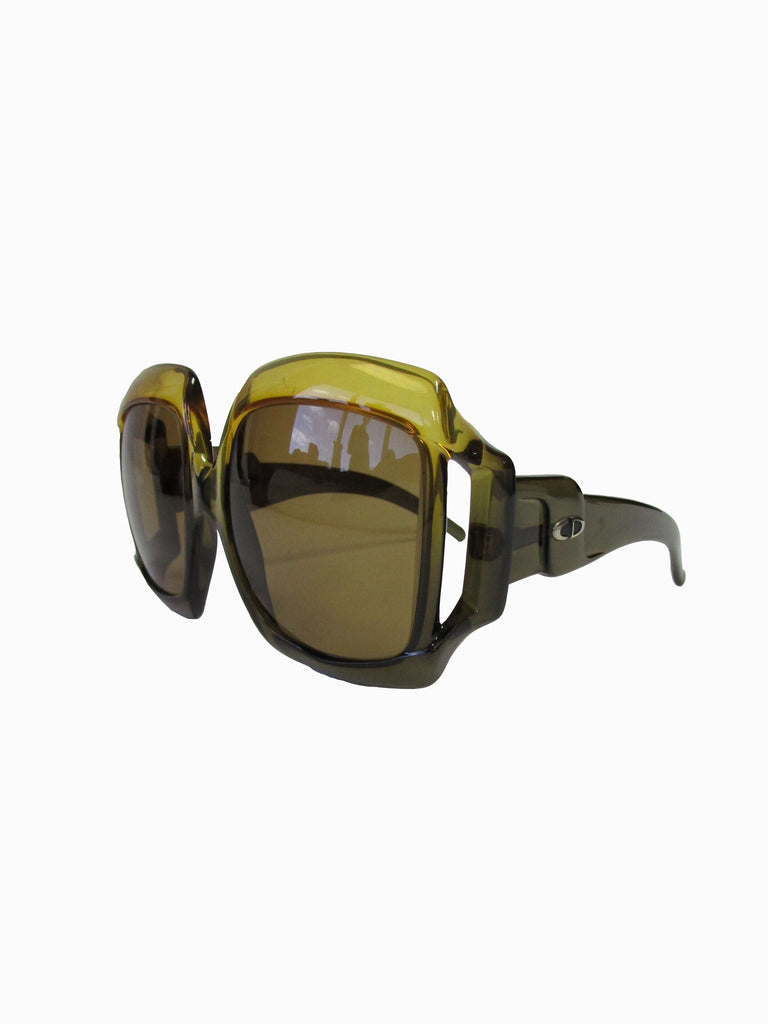 70s Christian Dior Green Brown Over-sized Optyl Sunglasses