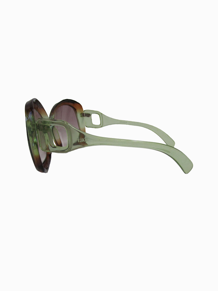 70s Italian Mod Green to Brown Ombre Sunglasses