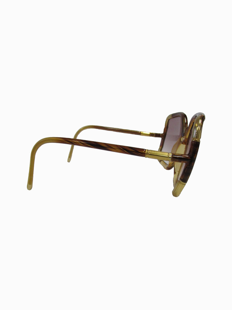 1970s Ted Lapidus Paris Gold Accented Tortoise Over-sized Sunglasses
