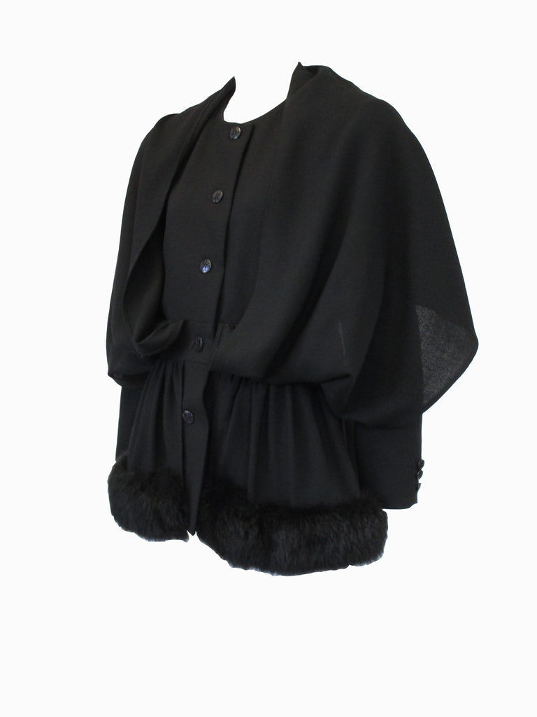 1980s C'est Simone Black Wool Short Coat with