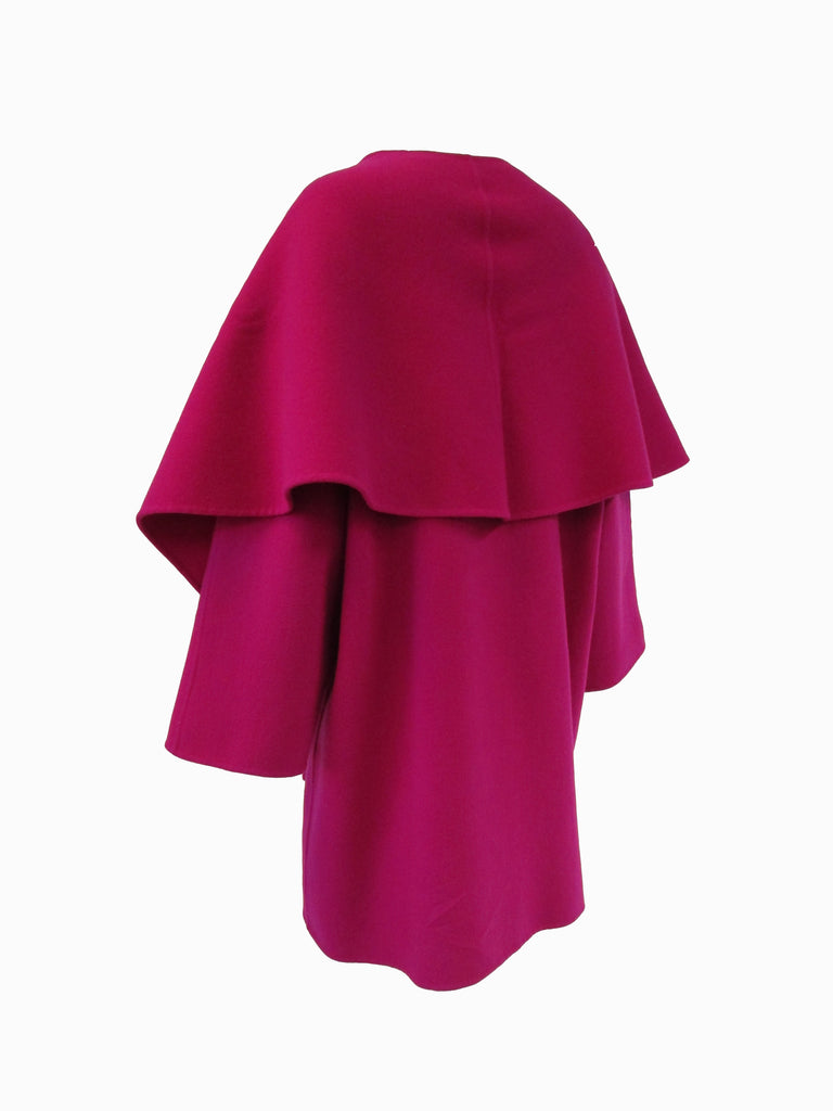 1980s Carolyne Roehm Fuschia Wool Oversized Coat and Shawl