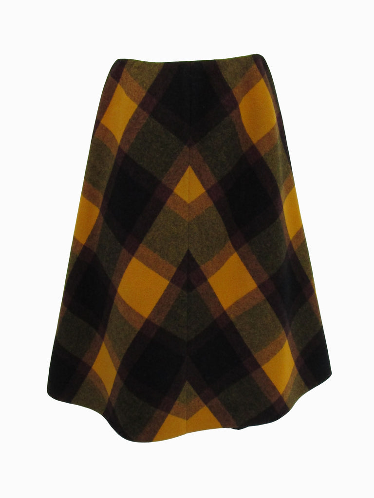 Vintage Multicolored Plaid Wool Cape and Skirt Ensemble