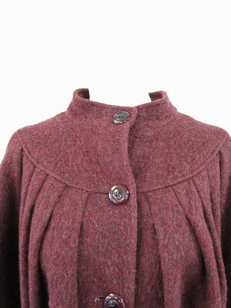 80s Scarlet High Neck Pleated Wool Coat