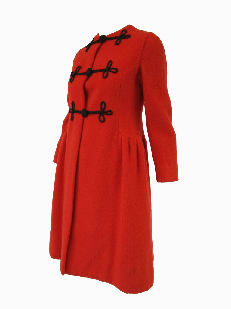 1970s Mod Orange Wool Coat Dress