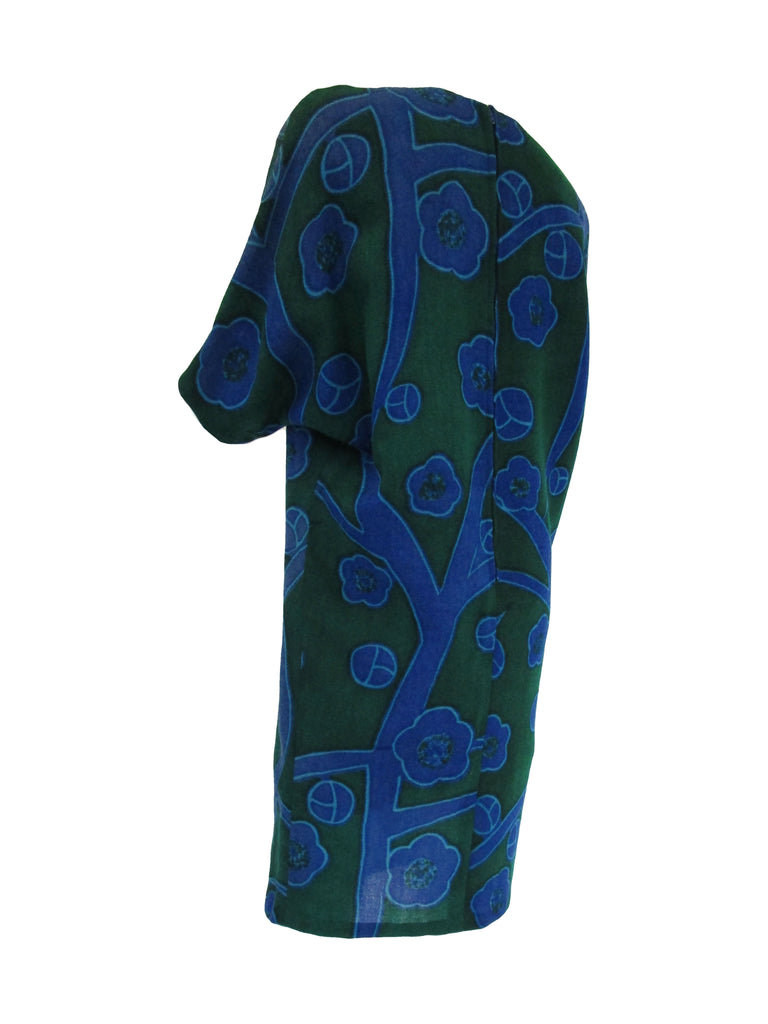 80s  Printed Wool Batwing Midi Dress