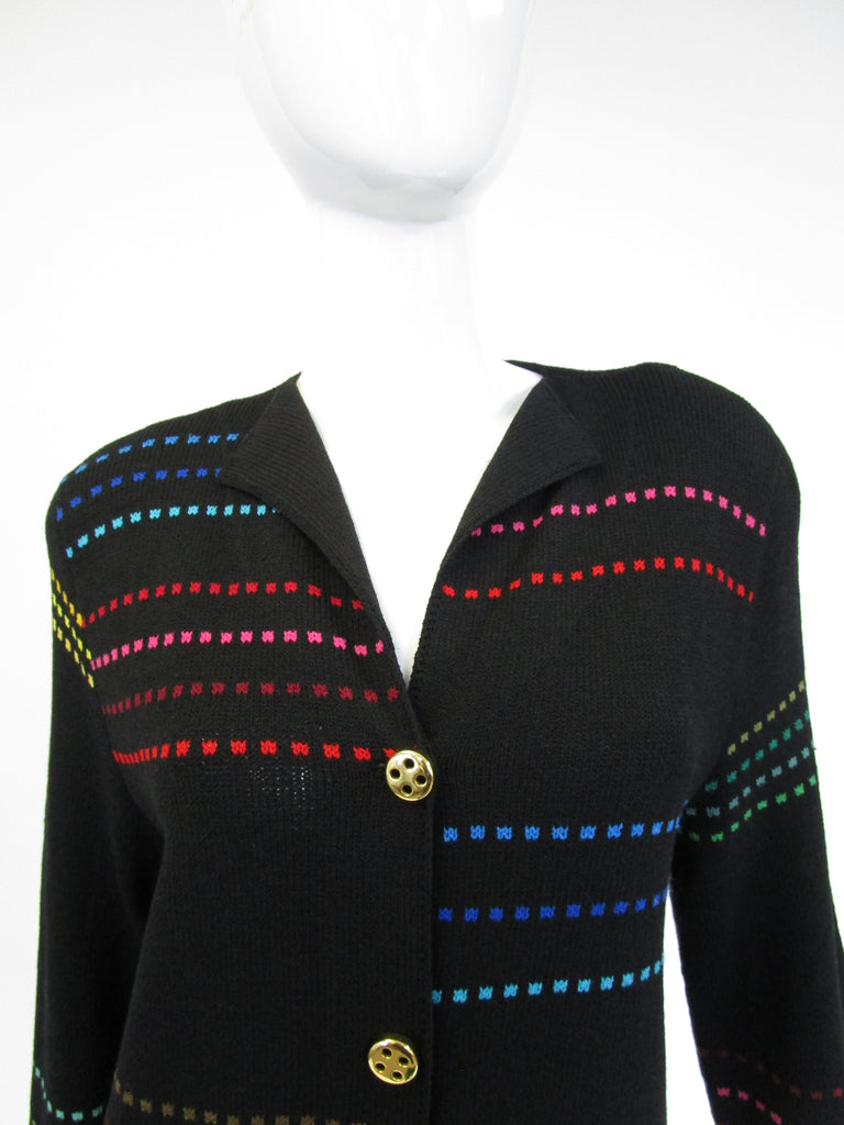 80s Black Knit Dress With Multi-color accents