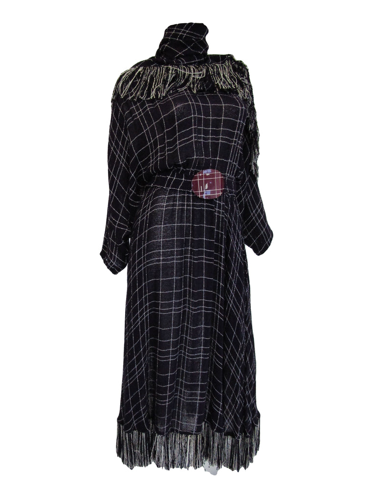 1980s Purple Checked Gauze Fringed Maxi Dress with Shawl and Belt