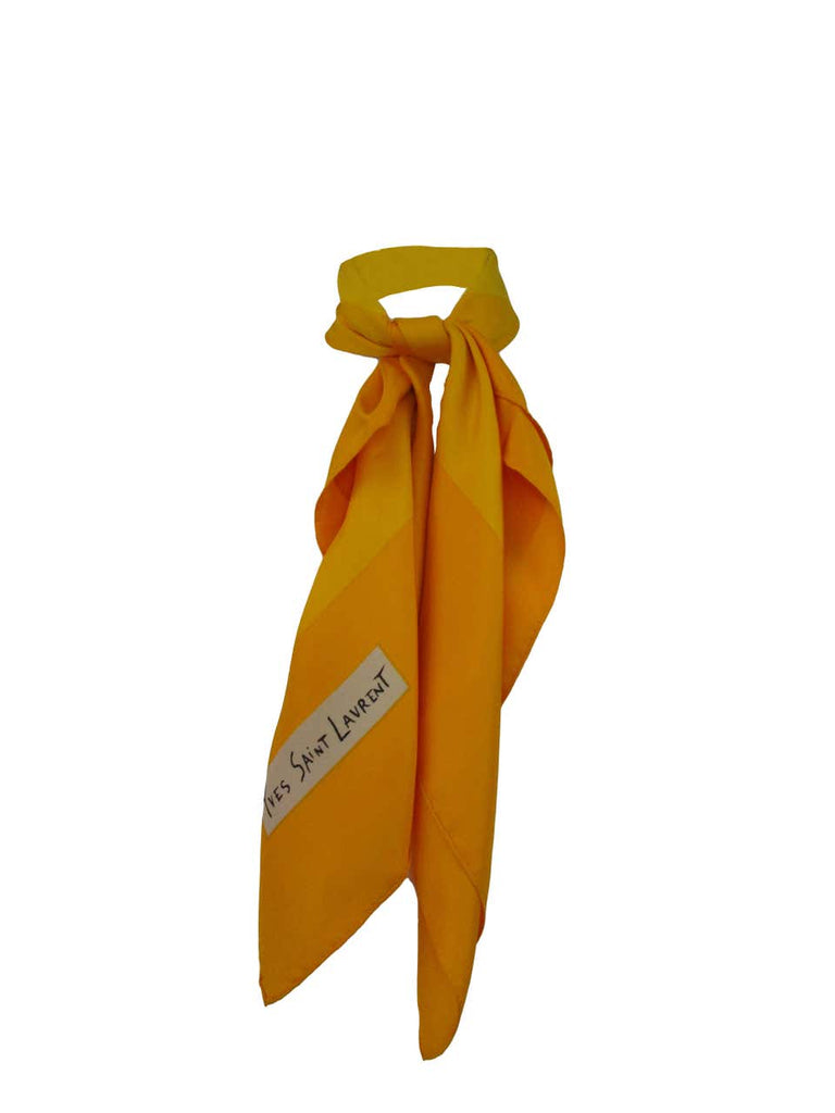 YSL Yellow Radiant Square Burst Silk Scarf