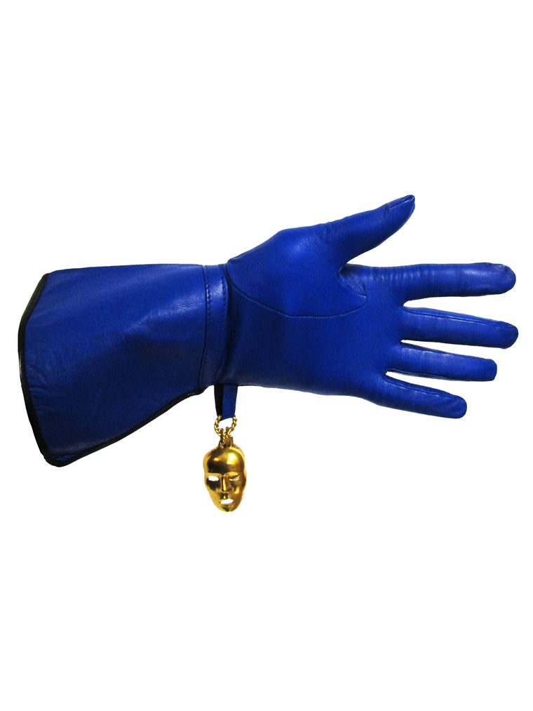 1980s Isabel Canovas Blue Leather Gloves Small