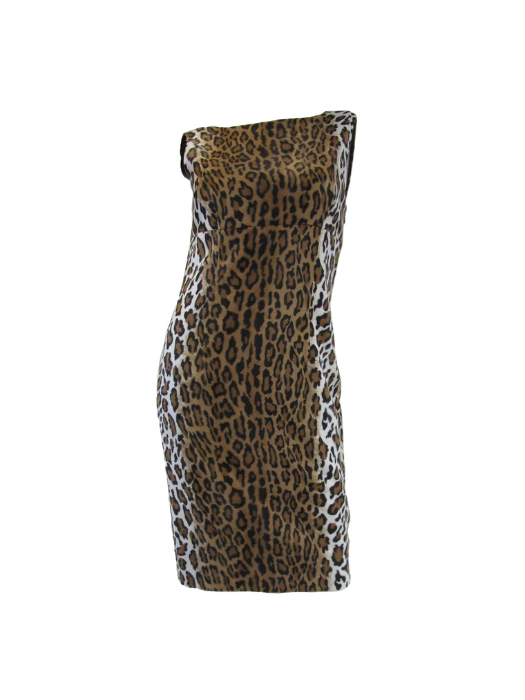 2000s Moschino Cheap & Chic Faux Fur Leopard Print Sheath Dress