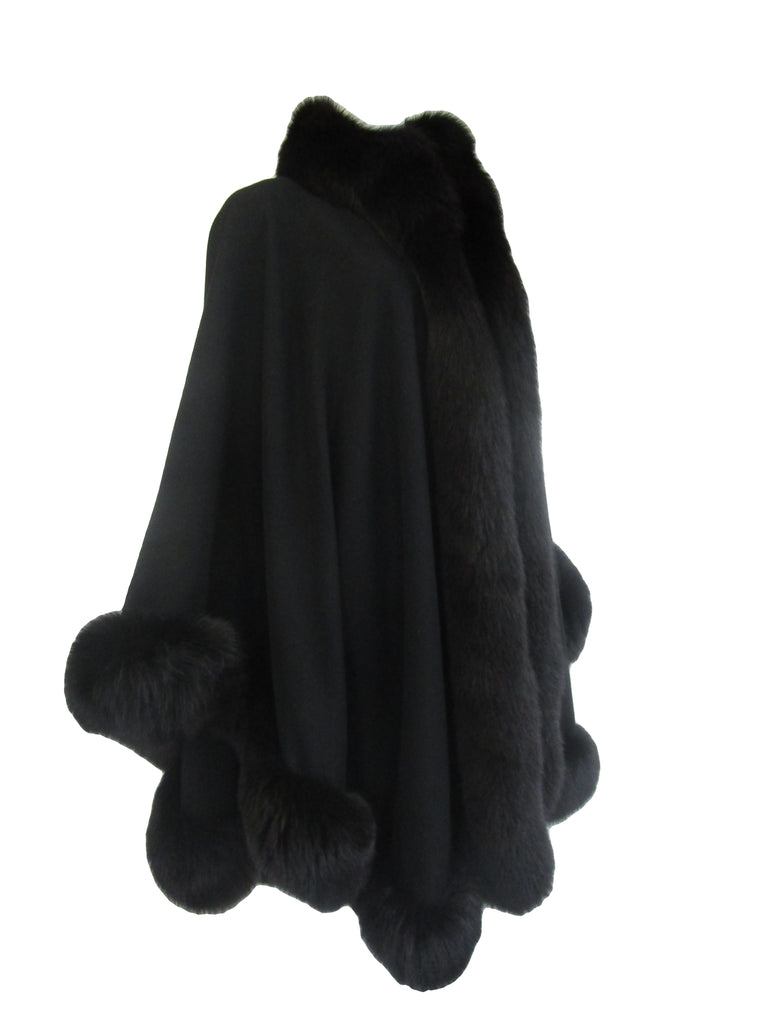 1960s Alixandre Black Fox Fur Cape