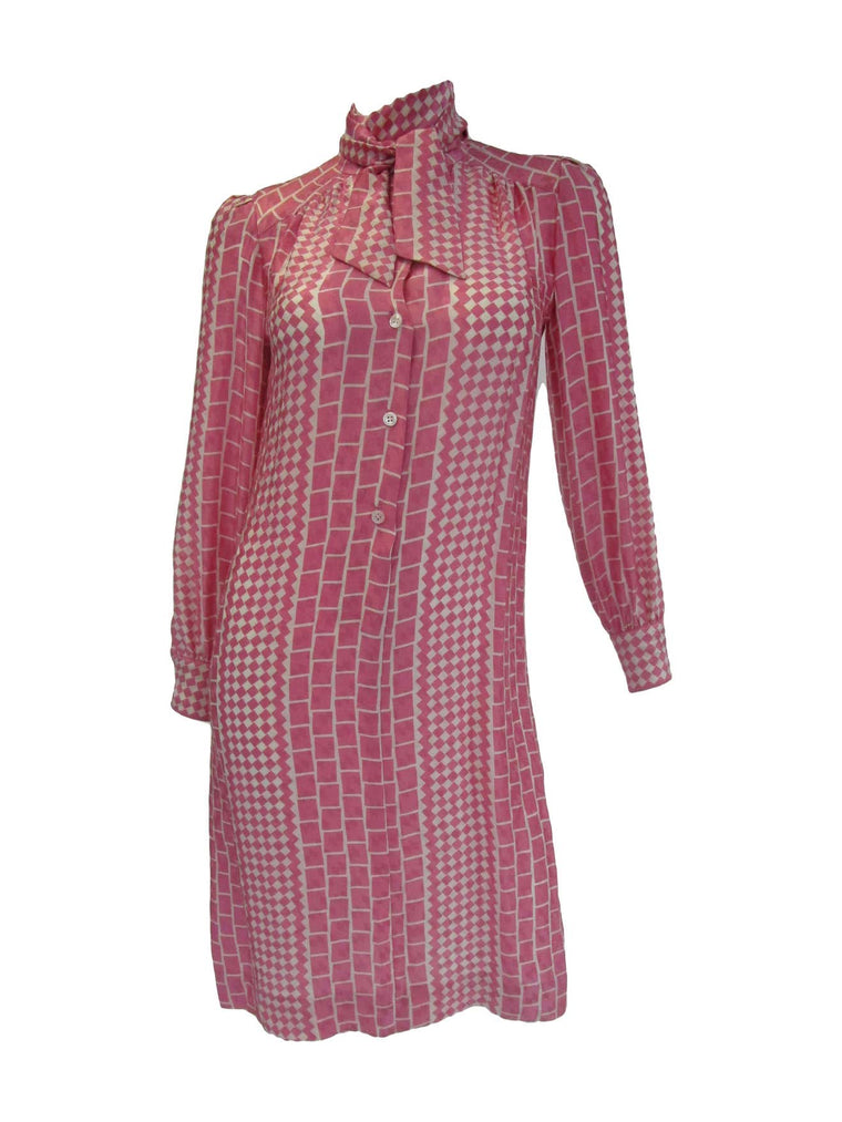 1970s Adolfo Pink and Cream Silk Spring Shift Dress