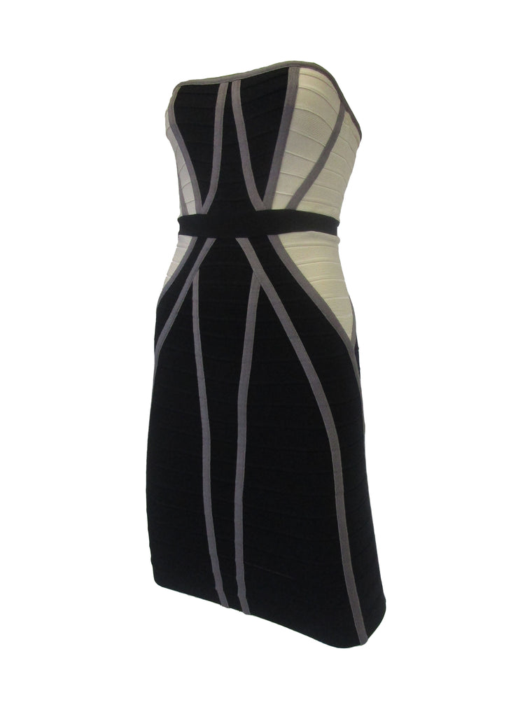 Contemporary Herve Leger Bone and Black Bandage Mini Dress