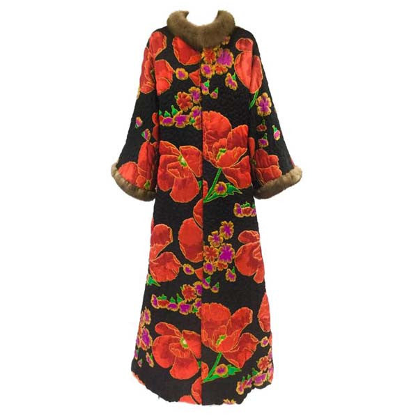 Maximilian Quilted Floral Silk Coat with Mink Trim