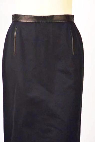 1990s Givenchy by Galliano Navy and Leather Cape Skirt Suit