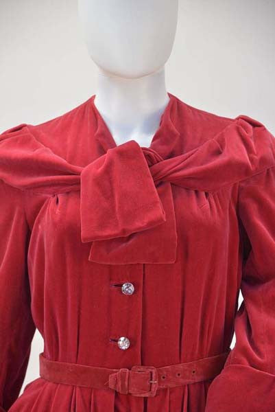 1950s YSL for Christian Dior Red Velvet Button Front Dress