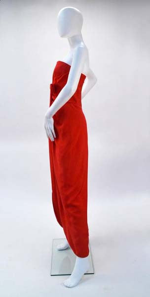 1990s Scaasi Boutique Red Strapless Gown