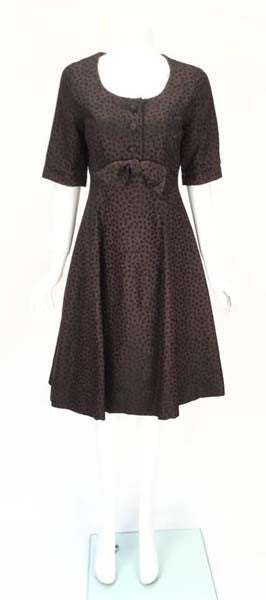 1950s Christian Dior Paris Numbered Brown and Black Dress