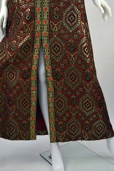 1970s Deep Red with Gold Metallic Patterned Dress