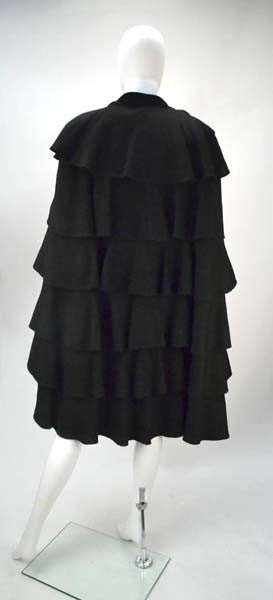 1940s Gilbert Adrian Black Tiered Ruffle Cape